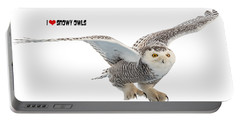 I Love Snowy Owls T-shirt Portable Battery Charger