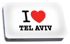Portable Battery Charger featuring the photograph i love Tel Aviv by Ron Shoshani