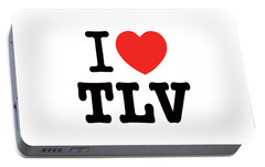 Portable Battery Charger featuring the photograph i love TLV by Ron Shoshani