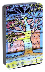 Portable Battery Charger featuring the painting I Love Trees by Genevieve Esson