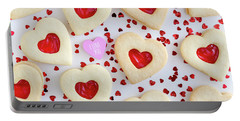 Portable Battery Charger featuring the photograph I Love You Heart Cookies by Teri Virbickis