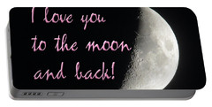 I Love You To The Moon Pink Portable Battery Charger