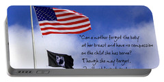 Portable Battery Charger featuring the photograph I Will Not Forget You American Flag Pow Mia Flag Art by Reid Callaway
