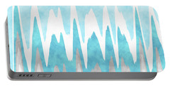 Portable Battery Charger featuring the mixed media Ice Blue Abstract by Christina Rollo