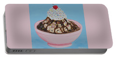Portable Battery Charger featuring the painting Ice Cream Sundae With Sprinkles by Nancy Nale