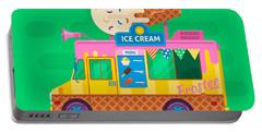 Ice Cream Van Delivery.street Food Truck Vector Illustration.flat Vector Illustration Portable Battery Charger