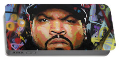 Portable Battery Charger featuring the painting Ice Cube by Richard Day