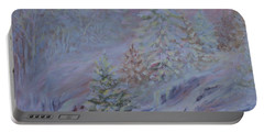 Ice Fog In The Forest Portable Battery Charger