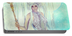Portable Battery Charger featuring the digital art Ice Moon Princess by Jutta Maria Pusl