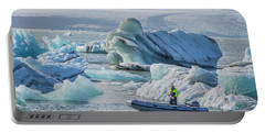 Icebergs On Jokulsarlon Lagoon In Iceland Portable Battery Charger by Venetia Featherstone-Witty