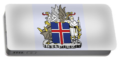 Portable Battery Charger featuring the drawing Iceland Coat Of Arms by Movie Poster Prints