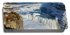Portable Battery Charger featuring the photograph Iceland Gullfoss Waterfall In Winter With Snow by Matthias Hauser
