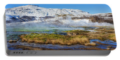 Portable Battery Charger featuring the photograph Iceland Landscape Geothermal Area Haukadalur by Matthias Hauser