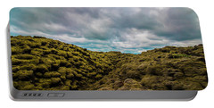 Iceland Moss And Clouds Portable Battery Charger by Venetia Featherstone-Witty