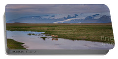 Iceland Sheep Reflections Panorama  Portable Battery Charger