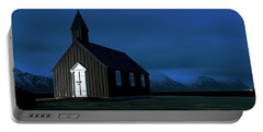 Portable Battery Charger featuring the photograph Icelandic Church At Night by Dubi Roman