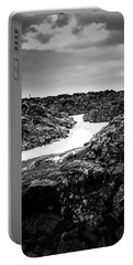 Icelandic Silica Stream In Black And White Portable Battery Charger
