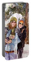 Portable Battery Charger featuring the painting Icicle by Anne Gifford
