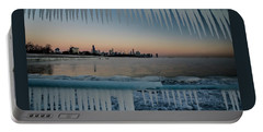 Icicles And Chicago Skyline Portable Battery Charger