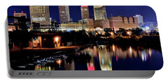 Iconic Night View Of Cleveland Portable Battery Charger