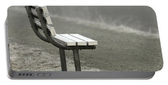 Icy Bench In The Fog Portable Battery Charger