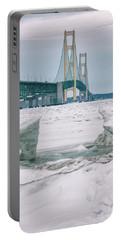 Portable Battery Charger featuring the photograph Icy Day Mackinac Bridge  by John McGraw