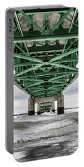 Portable Battery Charger featuring the photograph Icy Mackinac Bridge In Winter by John McGraw
