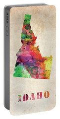 Idaho Colorful Watercolor Map Portable Battery Charger