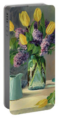 Ideal - Yellow Tulips And Lilacs In A Blue Mason Jar Portable Battery Charger by Bonnie Mason