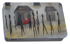 Portable Battery Charger featuring the painting Ignoring The Homeless by Judith Rhue