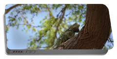 Iguana Climbing Up A Tree Trunk Portable Battery Charger by DejaVu Designs
