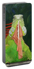 Portable Battery Charger featuring the painting Iguana Dude by Karen Zuk Rosenblatt