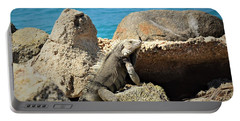 Portable Battery Charger featuring the pyrography Iguana  by Gary Smith