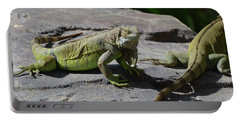 Iguana Perched On A Rock In The Sun Portable Battery Charger