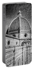 Portable Battery Charger featuring the photograph Il Duomo Florence Italy Bw by Joan Carroll