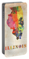 Illinois Colorful Watercolor Map Portable Battery Charger
