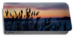 Illinois River Winter Sunset Portable Battery Charger