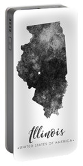 Illinois State Map Art - Grunge Silhouette Portable Battery Charger