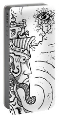Surrealism Illuminati Black And White Portable Battery Charger