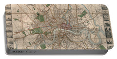 Illustrated Plan Of London And Its Environs - Map Of London - Historic Map - Antique Map Of London Portable Battery Charger