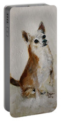 Portable Battery Charger featuring the painting Rusty Being A Good Boy by Barbie Batson