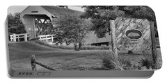 Imes Covered Bridge Landscape Black And White Portable Battery Charger