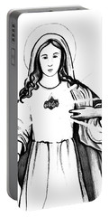 Portable Battery Charger featuring the drawing Immaculate Heart Of Mary by Mary Ellen Frazee