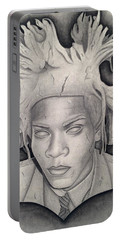 Immortalizing In Stone Jean Michel Basquiat Drawing Portable Battery Charger