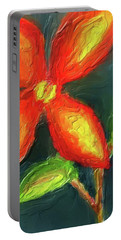 Impasto Red And Yellow Flower Portable Battery Charger