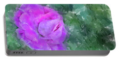 Impasto Rose Portable Battery Charger by Aliceann Carlton