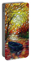 Portable Battery Charger featuring the painting Impression Sunset Print From Olena Art Original Oil Painting #pixels   by OLena Art Brand