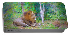 Portable Battery Charger featuring the painting  Impressionable Lion by Judy Kay