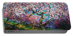 Impressionistic Spring Blossoms Trees Landscape Painting Svetlana Novikova Portable Battery Charger