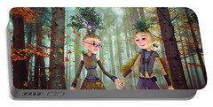 Portable Battery Charger featuring the digital art In Harmony With Nature by Jutta Maria Pusl